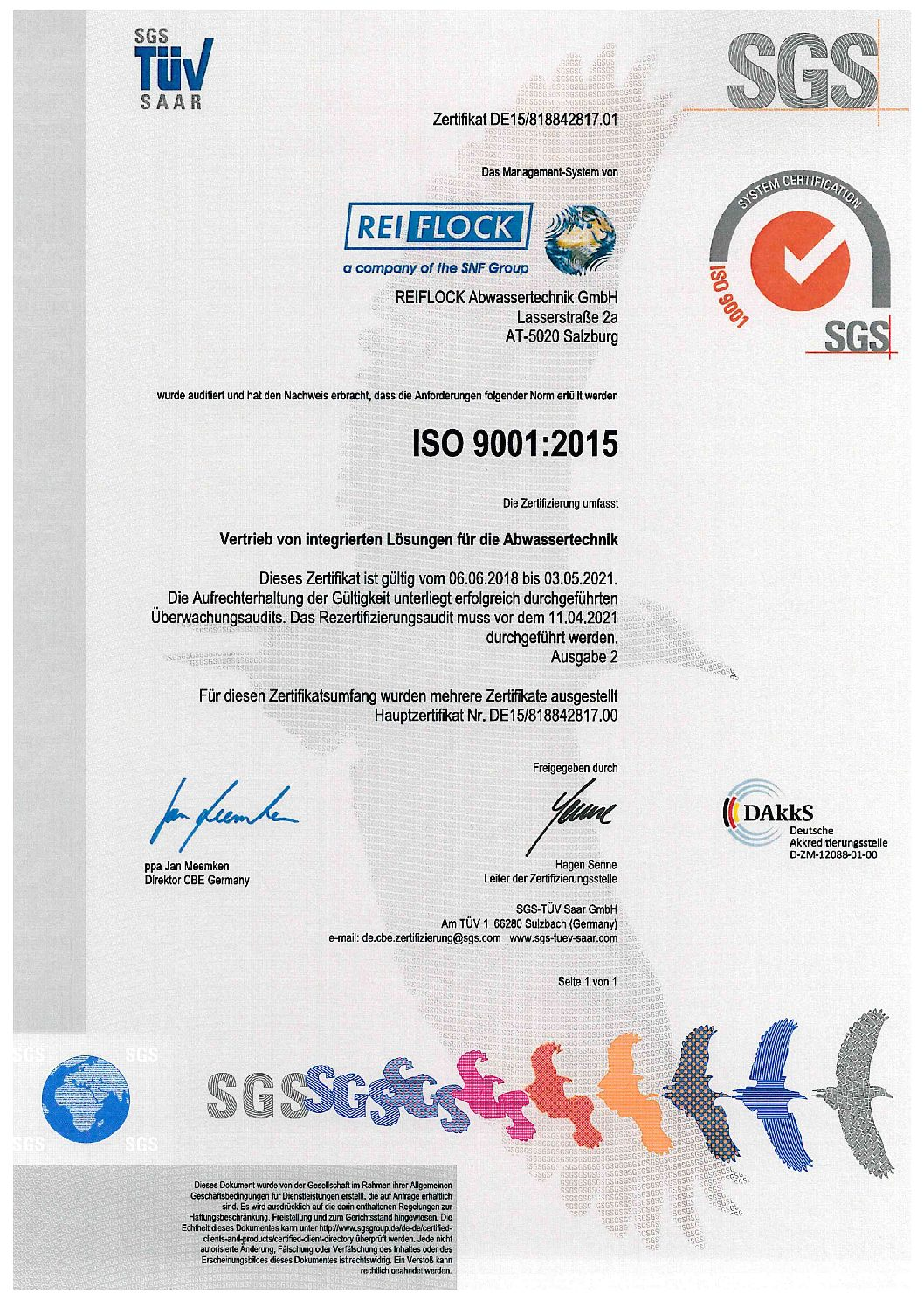 ISO-Zertifikat REIFLOCK Austria, DE 1 von 1 ab 2018