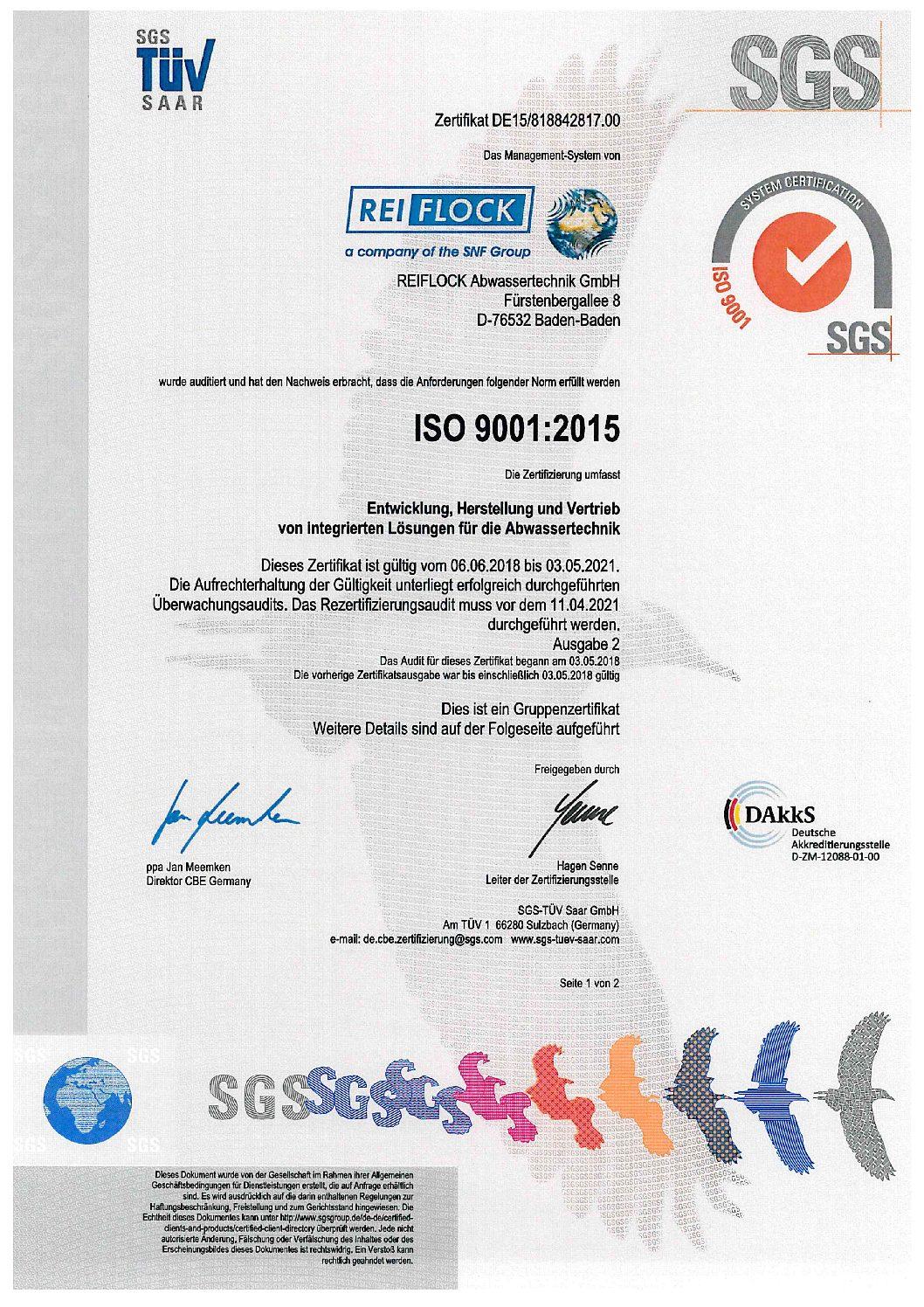 ISO-Zertifikat REIFLOCK DE 1 von 2 ab 2018